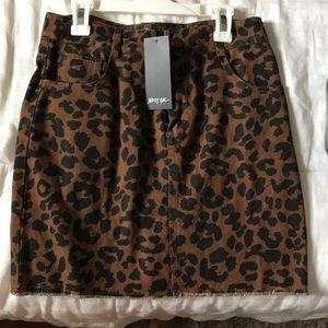 NastyGal Leopard Denim Skirt
